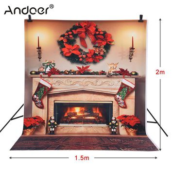 Andoer 1.5 * 2m Photography Background Backdrop Christmas Fire Place Pattern for Children Kids  Photo Studio Portrait Shooting