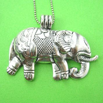 Large Elephant Animal Pendant Necklace in Silver | Animal Jewelry