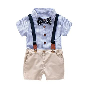 Baby Boy Gentleman Clothes Set Summer Suit For Toddler Kid Formal Party Bow Bodysuit Set 0-24 Month Infant Boy Striped Clothing