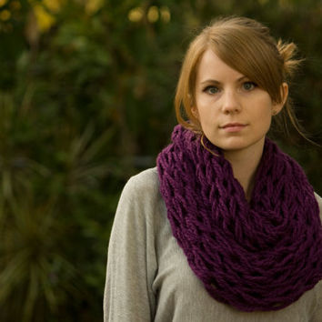 Infinity Scarf, Purple Knit Scarf, Eggplant Spring Cowl