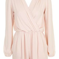 **Long Sleeve Wrap Playsuit by Love - Rompers & Jumpsuits - Clothing