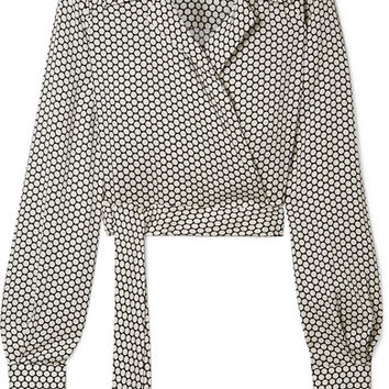 Diane von Furstenberg - Cropped printed stretch-silk wrap top