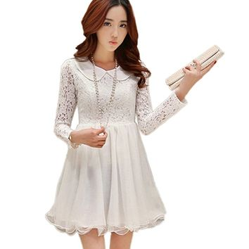 MuseBelle® Women's Long Sleeve Peter Pan Collar Lace Tunic Bubble Dress