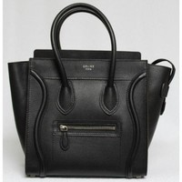 Celine Black Pebbled Leather Micro Luggage Tote Bag, Sold Out in Stores