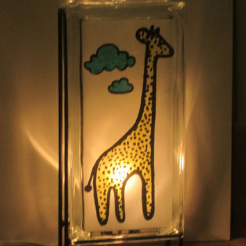 Night Light FREE SHIPPING Eco-Friendly Yellow Giraffe Blue Clouds handmade Glowblock glass block lamp fo upcycled nursery, baby shower gift
