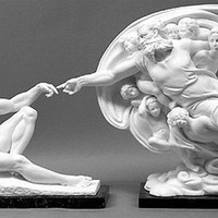 God and Adam from Sistine Chapel Sculpture Set by Michelangelo, Imported from Italy 15H - 4933X