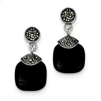Sterling Silver Onyx & Marcasite Earrings