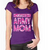 'PROUD ARMY MOM' Women's Fitted Scoop T-Shirt by kernitees