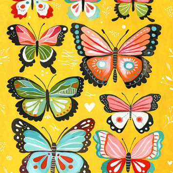 Butterfly Collection  Yellow  -   vertical print
