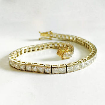 Pretty Vermeil (Gold over Sterling Silver) 7 Inch Tennis Bracelet with Baguette-Cut CZ's with Box Clasp and Safety Clasp