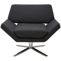Sly Swivel Lounge Chair Dark Grey Wool