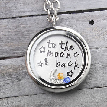 To the Moon & Back, Mother Locket, Floating Locket Necklace, Floating Charm Locket, Birthstone Necklace,Floating Charm Locket