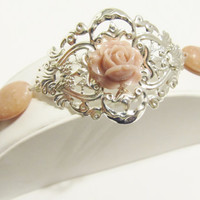 Muted Pink Floral Filigree Cuff Bracelet with Lepidolite - Wedding, Bridal, Vintage Inspired, Country, Shabby Chic, Feminine, Gift