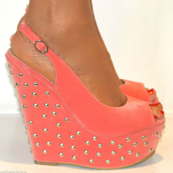 LADIES CORAL PEEP TOE STUDDED WEDGE HIGH HEELS SLING BACK SHOE SANDAL PROM 3-8