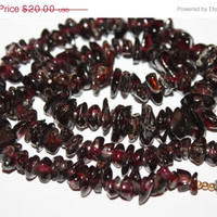 Easter Sale Garnet Necklace Genuine Stone  Vintage 1970s Jewelry
