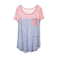 Tiffany Stripe Tee - Coral