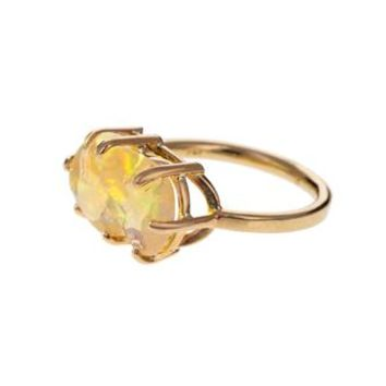 Mexican Fire Opal Basket Prong Ring