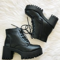 CEREN CHUNKY BOOTS- BLK