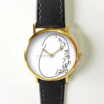 Twisted Numbers Watch , Vintage Style Leather Watch, Women Watches, Unisex Watch, Boyfriend Watch,Men's Watch, Black White, Calligraphy Font