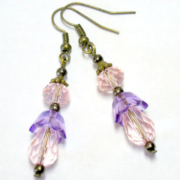"Dangly Pierced Earrings ""Nicola"" Peachy Pink and Purple 1 Pair"