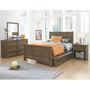 My Home Logan Panel Bed In Driftwood Grey