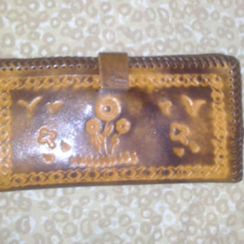 Vintage Leather Wallet Hand Tooled with Unique Designs