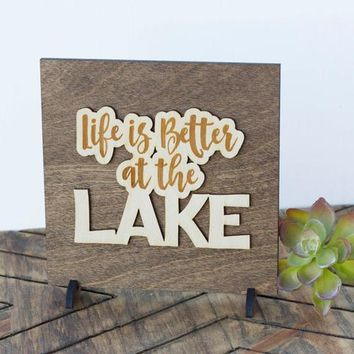 Lake Cottage Decor - Rustic Cabin Sign - Gifts