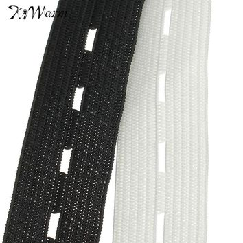 KIWarm Wide Button Hole Knit Elastic Ribbon Tape Craft DIY Sewing Accessory For Sewing Fabric Garment Decor White Black 30M 20mm