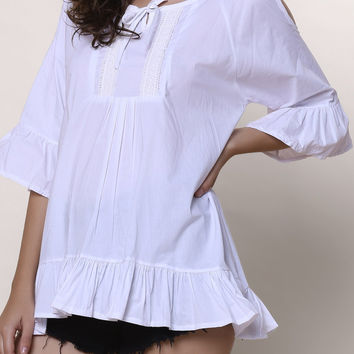 Solid Color Cut-Out Ruffled Boho Top