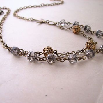 Shabby metallic necklace with vintage silver by shadowjewels