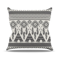"Amanda Lane ""Native Roots"" Brown Gray Outdoor Throw Pillow"