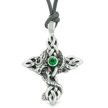 Fire Dragon Protection Celtic Knots Cross Magic Amulet Royal Green Crystal Pendant Necklace
