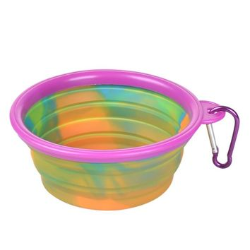 Pet Dog Bowl Camouflage Silicone Folding Bowls Portable Food Drinking Water Pet Product Outdoor Bowls