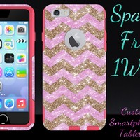 iPhone 6 Case - OtterBox Commuter Series - Retail Packaging - 4.7 iPhone 6 Glitter Gold Small Chevron Light Pink/Pink