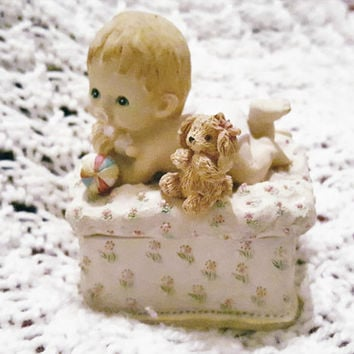 Adorable Tiny Ceramic Ring Box with Baby in Diapers Figurine on the Lid