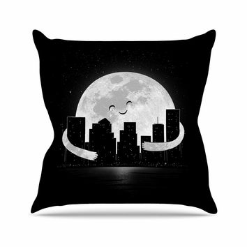 "Digital Carbine ""Goodnight"" Black White Outdoor Throw Pillow"