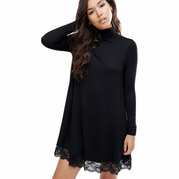 2017 Spring And Summer New Arrival Women Sexy Black Crochet Turtleneck Lace Long Sleeve Loose Shift Dress Fall Patchwork Dresses