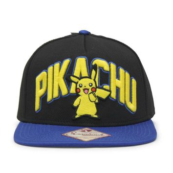 Pokemon Embroidered Pikachu Flat Brim Snapback Baseball Cap