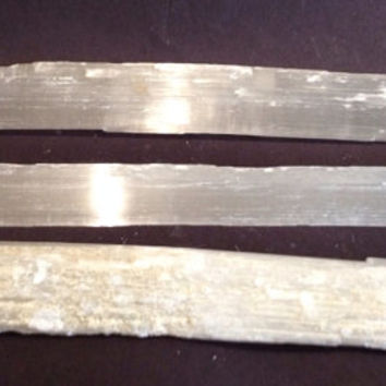 Medium Selenite Wand Meditation, Energy Shield. Rough, Raw, Psychic Powers, Grids, 8.5 inches by .75-1.25 inches, Free Ship