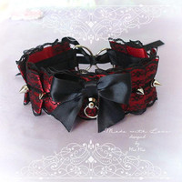 Gothic Vampire Choker Necklace ,Kitten Pet Play Collar, Tug Proof , Red Black Lace Bow O Ring Spikes ,Goth Daddys Girl BDSM DDLG Steampunk