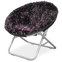 your zone spiker faux fur saucer chair, multiple colors - Walmart.com