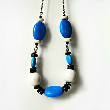 Blue Turquoise and White Mountain Jade Southwestern Color Block Necklace