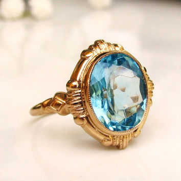 Art Deco Engagement Ring Esemco Blue Glass Ring Antique Engagement Ring 10K Yellow Gold Promise Ring December Birthstone Ring Size 6!