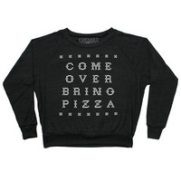 Come Over Bring Pizza Raglan Jumper (Black)