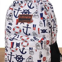 Full Anchor and Helm Print Backpack from topsales