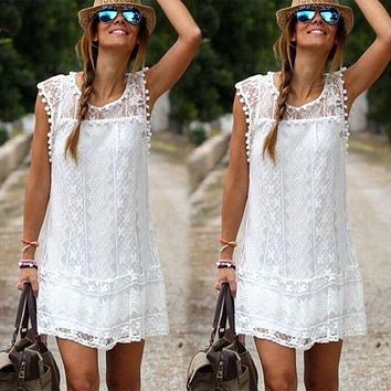 2016 New Arrivals Women Solid White Lace Beach Dress Sexy Hollow Out Plus Size Mini  Dresses Vestidos