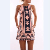 Pink Geometric Print Sleeveless Shift Dress