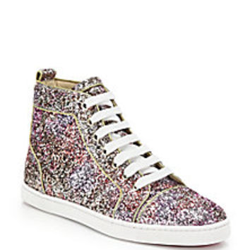 Christian Louboutin - Bip Bip Glitter High-Top Sneakers  - Saks Fifth Avenue Mobile