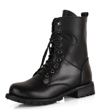 Black Mid-Calf Boots Women Fashion Women Combat Boots Leather Round Toe High Quality Lace Up Boots x619