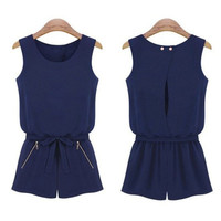 2017 Summer Women Casual Sleeveless Jumpsuit Fashion Sexy Bowknot Short Pants Romper Playsuit Overalls For Women rompers